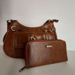 Rosetti Brown Shoulder Handbag with Wallet